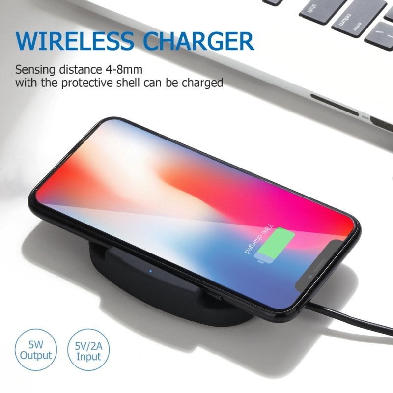 QK11 10W ABS + PC Fast Charging Qi Wireless Charger Pad, For iPhone, Galaxy, Huawei, Xiaomi, LG, HTC and Other QI Standard Smart Phones (Blue)