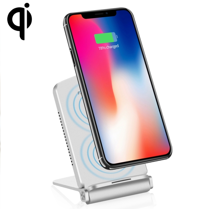 Q200 10W ABS + PC Fast Charging Qi Wireless Fold Charger Pad, For iPhone, Galaxy, Huawei, Xiaomi, LG, HTC and Other QI Standard Smart Phones (Silver)