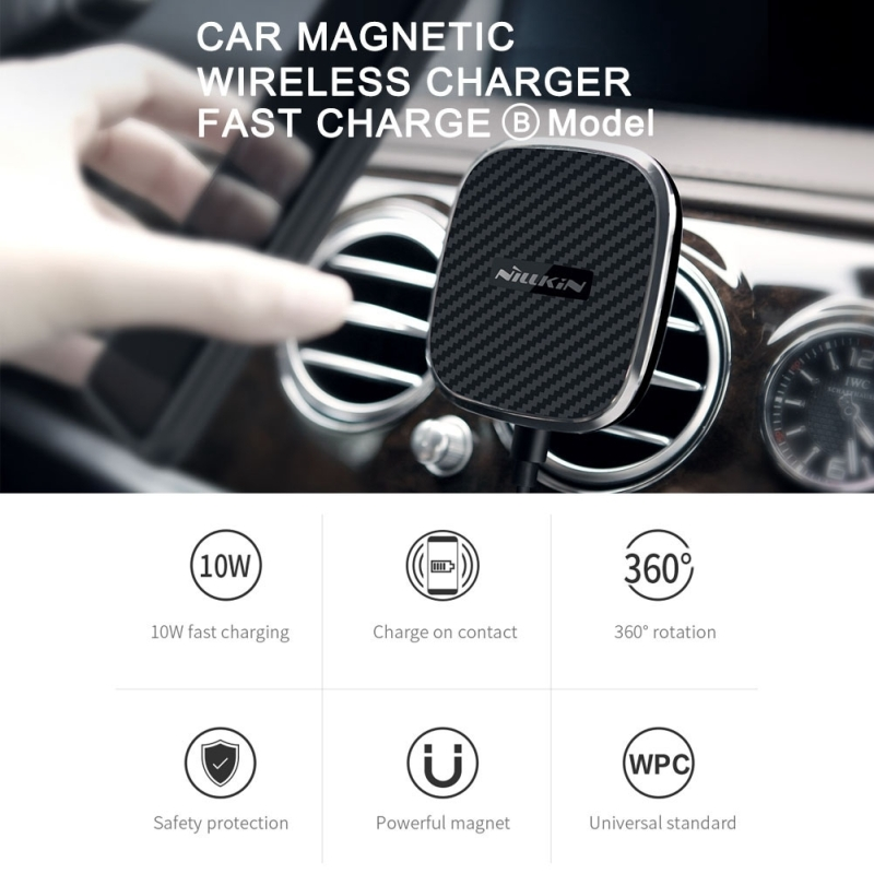 NILLKIN MC027 Car Air Outlet Vent Mount Clamp Holder 10W Fast Charging Qi Magnetic Wireless Charger, For iPhone 8/ 8 Plus / X (Black)