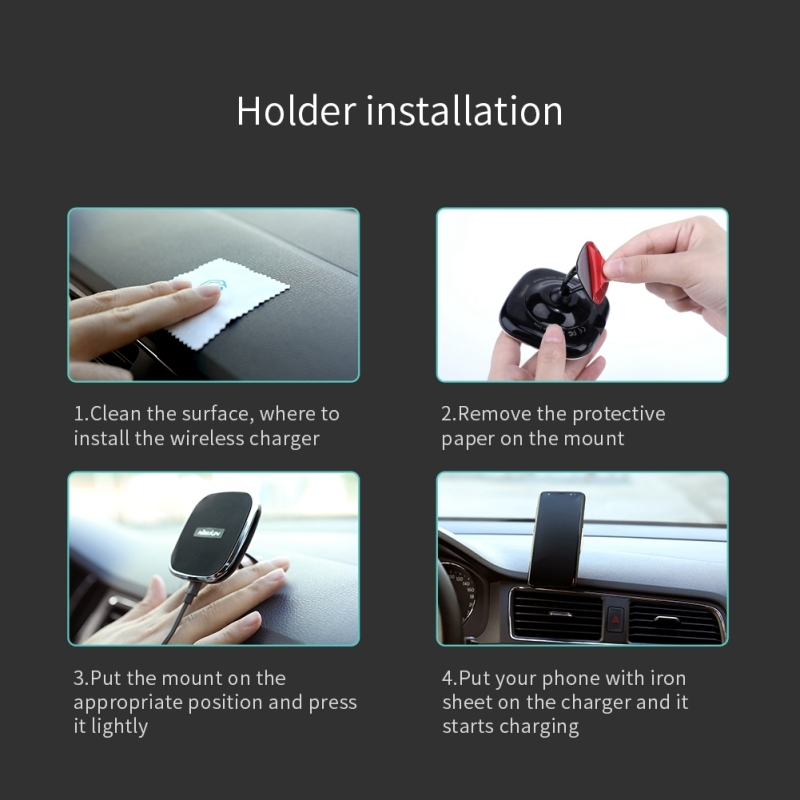 NILLKIN Car Adhesive Base Holder 10W Fast Charging Qi Magnetic Wireless Charger, For iPhone 8/ 8 Plus / X (Black)