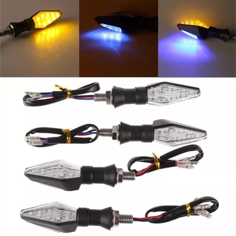 4 PCS DC 12V Motorcycle Front 9-LED + Back 3-LED Turn Signal Indicators Blinker Light, (Yellow + Blue Light)