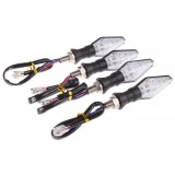 4 PCS DC 12V Motorcycle Front 9-LED + Back 3-LED Turn Signal Indicators Blinker Light, (Yellow + Blue Light)