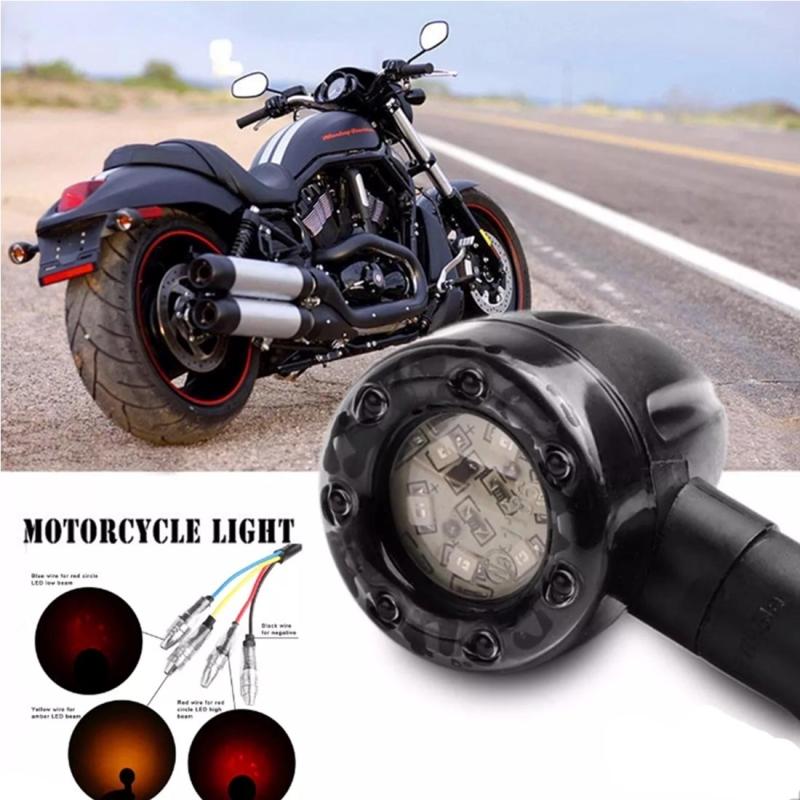 4 PCS DC 12V Motorcycle 13-LED Tail Turn Signal Lamp Indicators Blinker Light, (Yellow + Red Light)