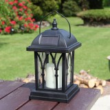 LEH-55142 Solar Power Candle Garden Light LED Lawn Lamp with 0.2W Amorphous Silicon Solar Panel (Black)