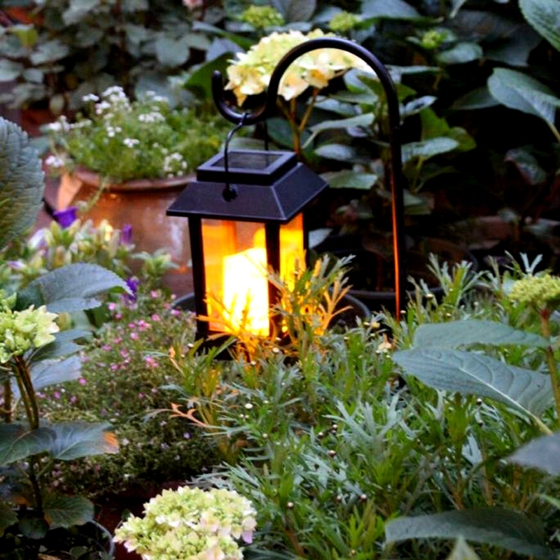 LEH-55143G Solar Power Candle Garden Light LED Lawn Lamp with Pole & 0.2W Amorphous Silicon Solar Panel (Black)