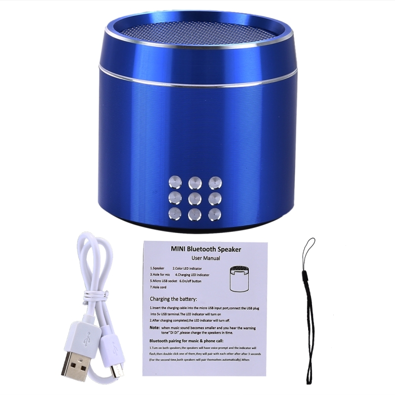 Portable True Wireless Stereo Mini Bluetooth Speaker with LED Indicator &  Sling for iPhone, Samsung, HTC, Sony and other Smartphones (Blue)