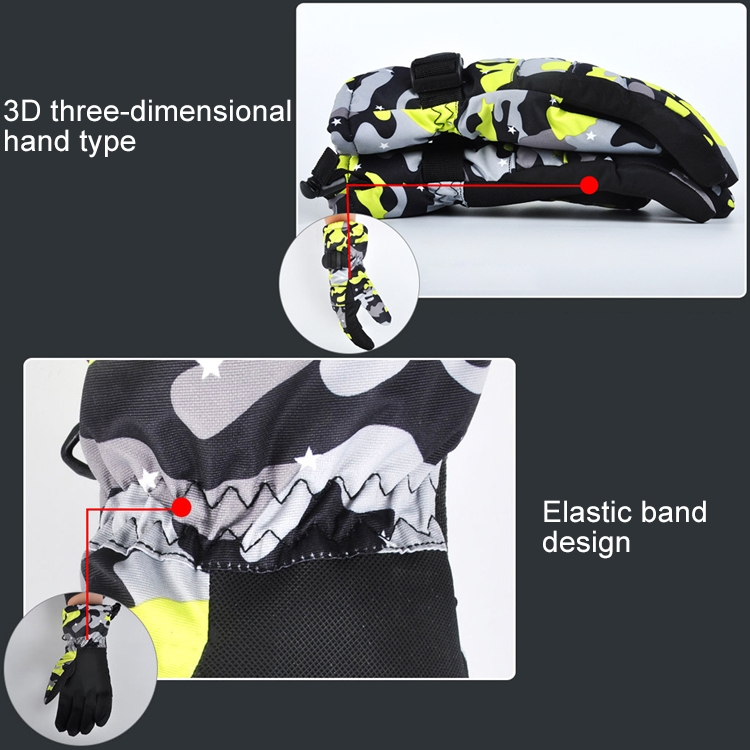One Pair Protective Unisex Skiing Riding Winter Outdoor Sports Thickened Splashproof Windproof Warm Gloves, Size: L (Yellow Camouflage)