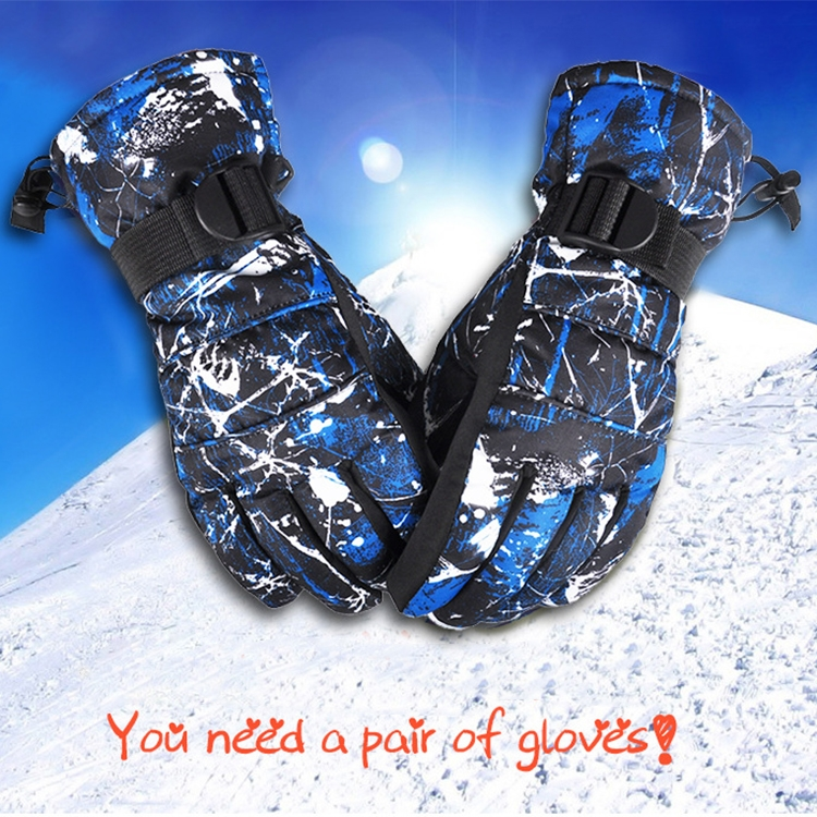 One Pair Protective Unisex Skiing Riding Winter Outdoor Sports Thickened Splashproof Windproof Warm Gloves, Size: L (Black & Blue Graffiti)