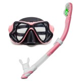 Yoogan Adult Full Dry Mask Breathing Tube Swimming Glass Diving Equipment Suit, Can Match Myopic Lens (Pink)