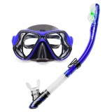 Yoogan Adult Full Dry Mask Breathing Tube Swimming Glass Diving Equipment Suit, Can Match Myopic Lens (Blue)