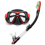 Yoogan Adult Full Dry Mask Breathing Tube Swimming Glass Diving Equipment Suit, Can Match Myopic Lens (Red)