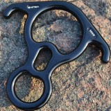 Climbing Rescue Figure 8 Descender with Bent-ear Rappelling Gear Belay Device (Black)