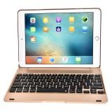 F19B for iPad 9.7 (2018) & iPad Air & Air 2 & iPad Pro 9.7 & New iPad 9.7 inch (2017) Ultra-thin ABS Horizontal Flip Case + Bluetooth Keyboard (Gold)