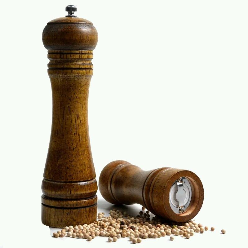 8 inch Length Classical Wooden Pepper Spice Salt Mill Grinder Muller