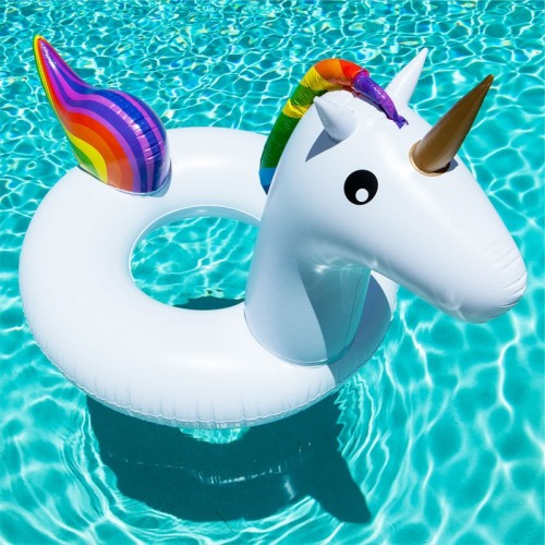 Summer Inflatable Unicorn Shaped Float Pool Lounge Swimming Ring Floating Bed Raft