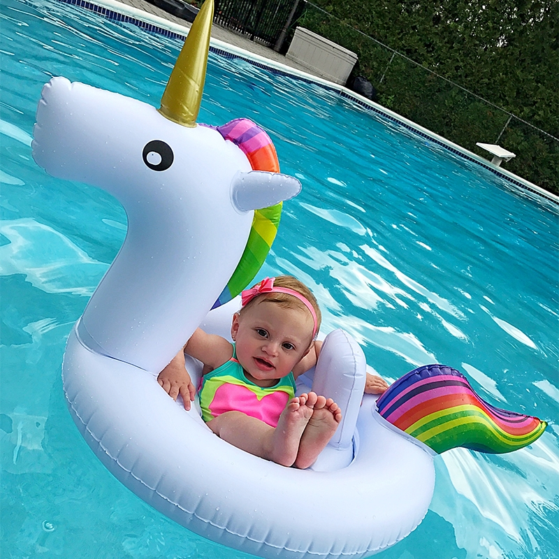 Children Summer Water Fun Inflatable Unicorn Shaped Pool Ride-on Swimming Ring Floats (White)