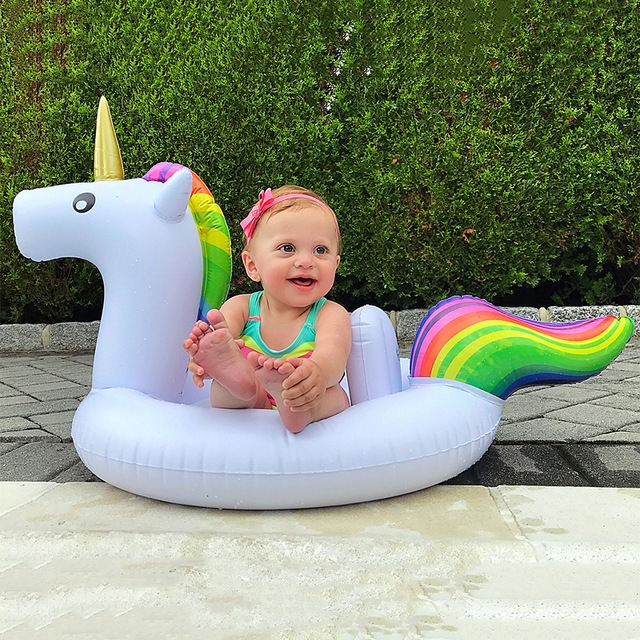 Children Summer Water Fun Inflatable Unicorn Shaped Pool Ride-on Swimming Ring Floats (Blue)