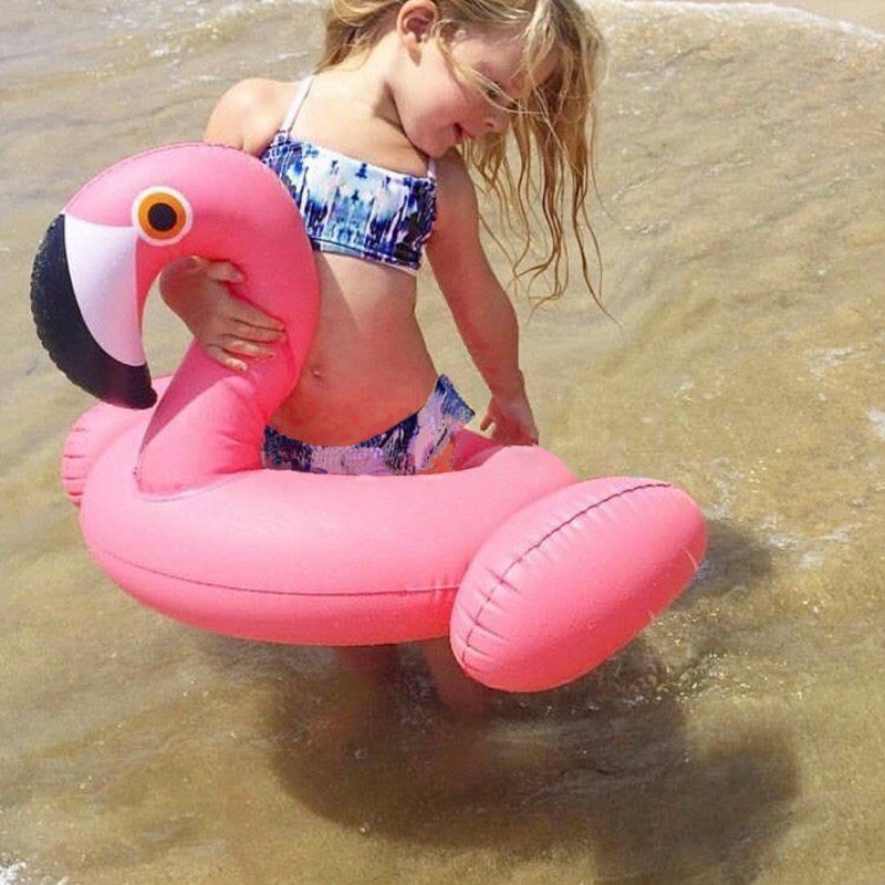 Kids Summer Water Fun Inflatable Flamingo Shaped Pool Ride-on Swimming Ring Floats