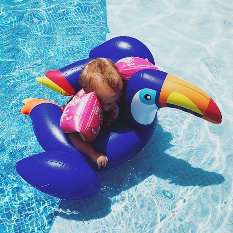 Kids Summer Water Fun Inflatable Blue Toucan Shaped Pool Ride-on Swimming Ring Floats