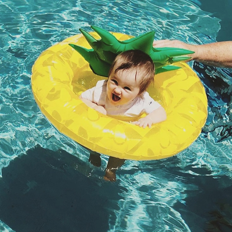 Kids Summer Water Fun Inflatable Pineapple Shaped Pool Ride-on Swimming Ring Floats