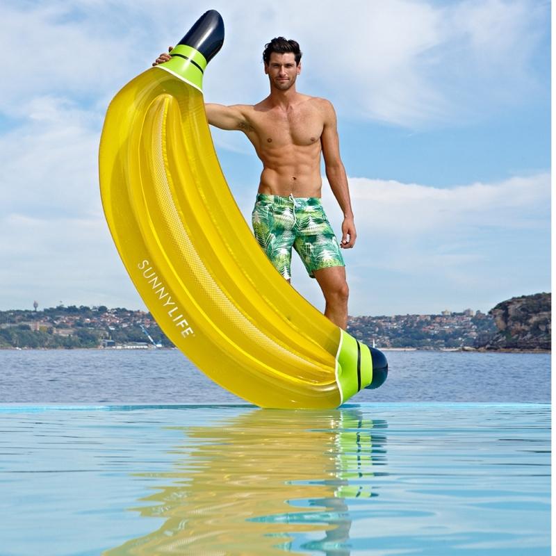 Water Fun Inflatable Banana Shaped Pool Lounge Swimming Ring Floating Raft Floats