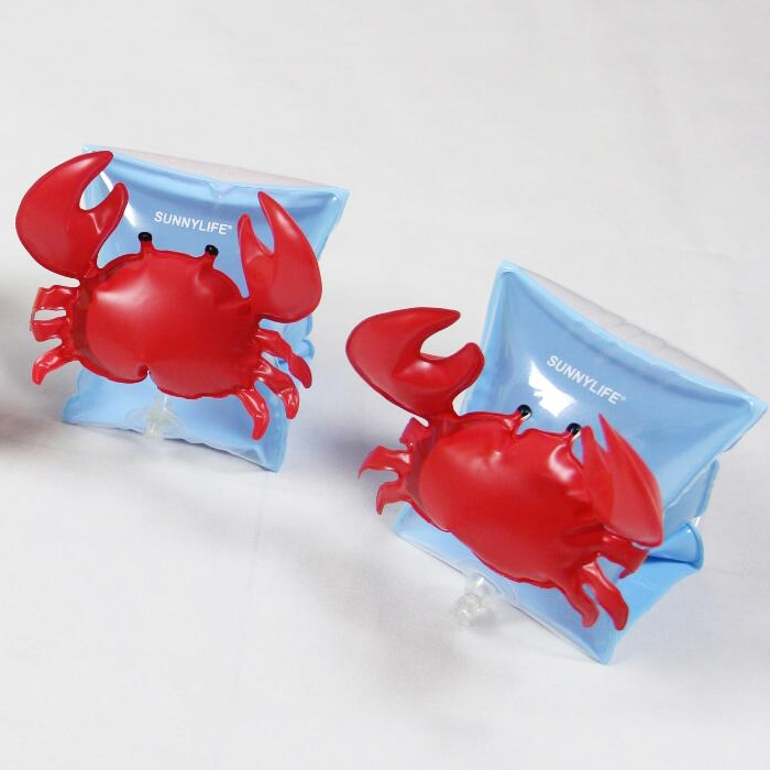 Children Inflatable Red Crabs Shape Arm Bands Floatation Sleeves Water Wings Swimming Floats