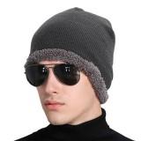 Mens Winter Plus Velvet Solid Beanie Cap Casual Warm Skullies Bonnet Hat
