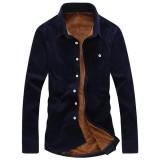 Corduroy Velvet Liner Thick Warm Autumn Winter Long Sleeve Slim Men Shirt S-3XL