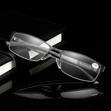 Stainless Steel Resin Lens Reading Glasses Half Frame Presbyopic Glasses