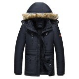 Men Winter Wark Thick Fleece Warm Furry Hooded Outdoor Jacket Parkas