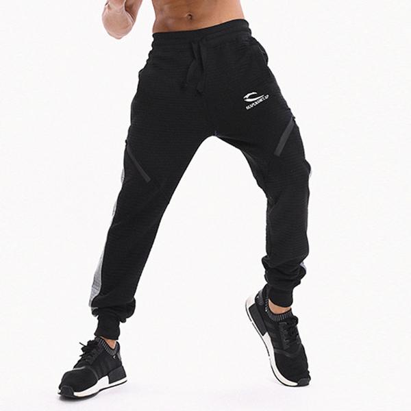 Men's Fitness Running Stitching Color Casual Sports Pants Elastic Waist Drawstring Slim Foot Pants
