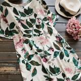 S-5XL Women Short Sleeved Floral Print Cotton Shirt Mini Dresses
