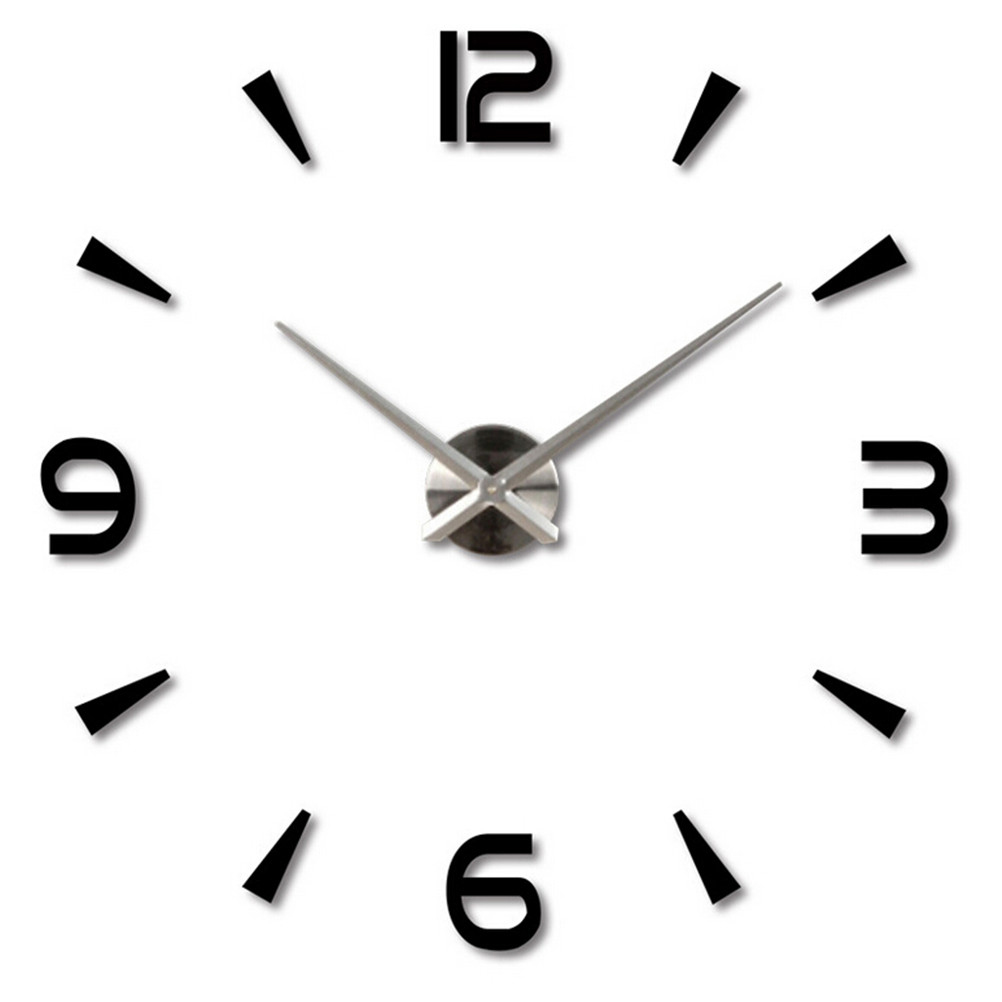Frameless Large 3d Diy Wall Clock Mute Mirror Stickers Home Office