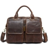 Men Genuine Leather Vintage 14 Inches Laptop Bag Business Bag Briefcase Crossbody Bag