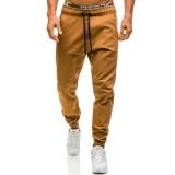 Men's Casual Tether Tights Open Crotch Pants Solid Color Drawstring Elastic Waist Jogging Pants