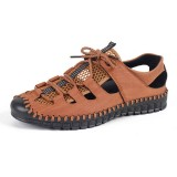 Men Hand Stitching Breathable Mesh Leather Sandals Soft Shoes