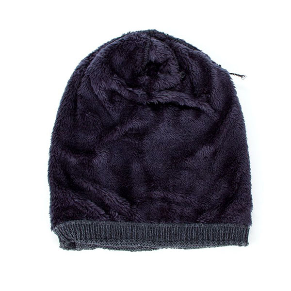 Mens Unisex Winter  Plus Velvet Lining Warm Knitted Hat Casual Label Solid Slouchy Skull Beanie Hat