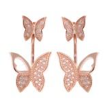 Sweet 925 Sterling Silver Rose Gold Earrings Full Zirconia Butterfly Piercing Ear Stud for Women