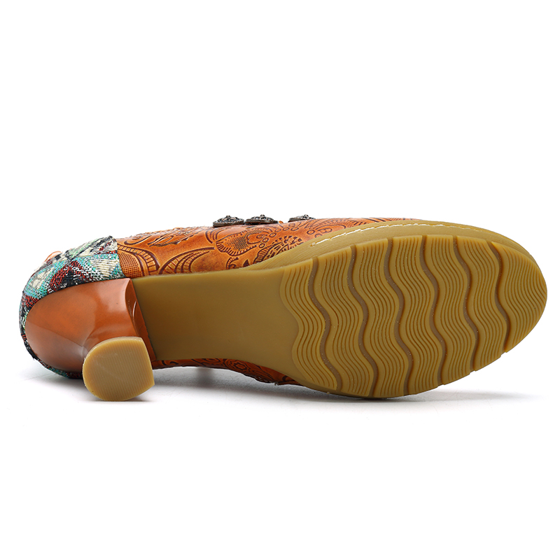SOCOFY Women Shoes Retro Buckle Printing Splicing Mid Heel