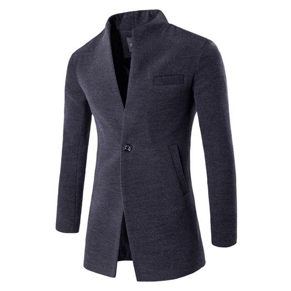 Mens Business One Button Stand Collar Fashion Casual Slim Fit Wool Jacket