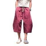 Mens Cotton Linen Loose Casual Vintage Calf-Length Harem Pants with Drawstring