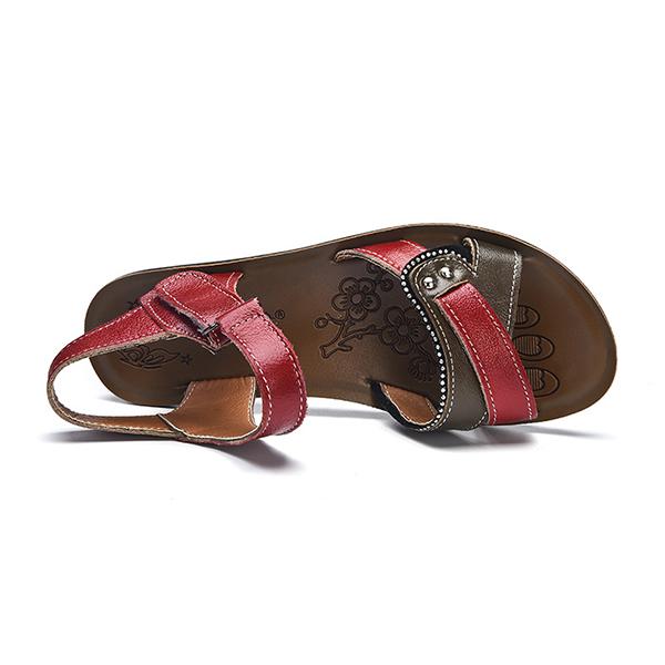 Women Leather Shoe Hook Loop Casual Comfy Flat Sandals