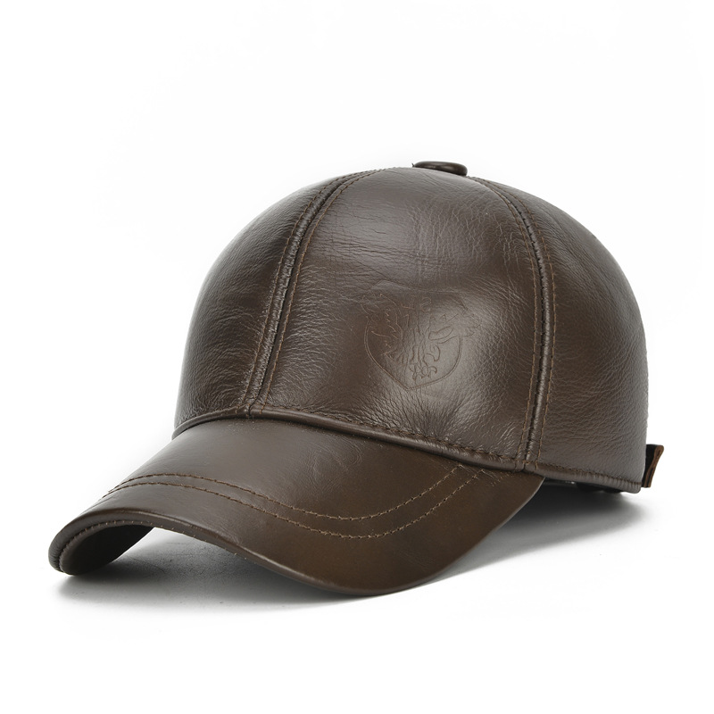Cap Mens Leather Hat Autumn and Winter Top Layer Sheepskin Fleece Baseball Cap