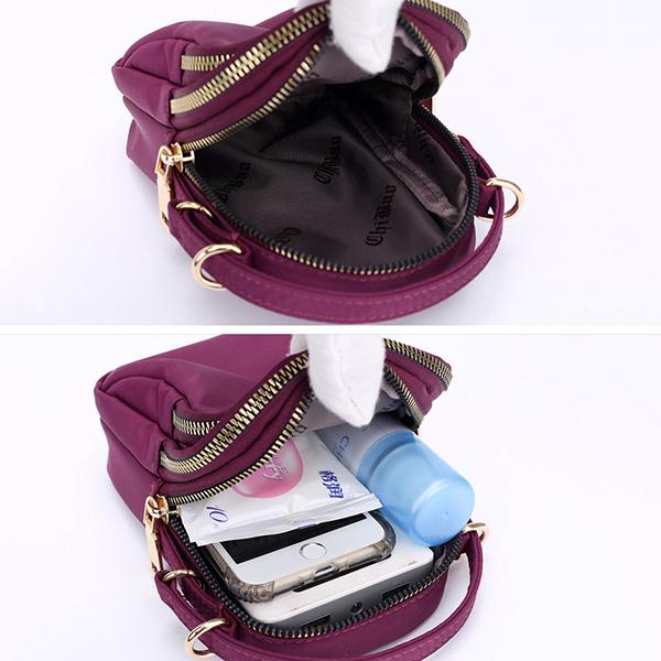 Women Nylon Waterproof Multi- Slot Solid Crossbody Bag Mini Portable Phone Bag