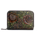 Genuine Leather Card Organ Card Holder Zipper Multi-card Bit Purse Wallet