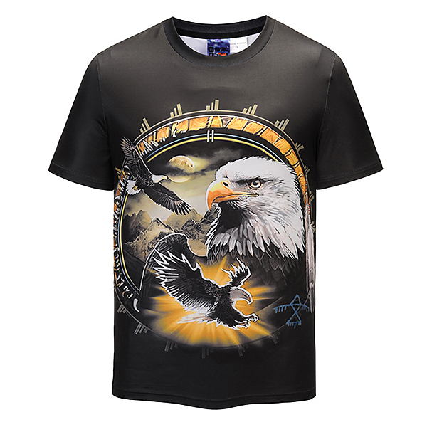 Eagle Pattern 3D Printed T-Shirts Summer Mens Casual O-neck Short Sleeve Tops Tees