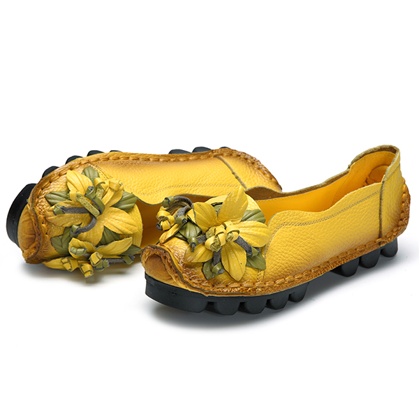1db98a78d65 SOCOFY Genuine Leather Handmade Flower Loafers Soft Flat Casual Shoes