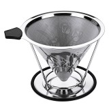 Stainless Steel Pour Over Coffee Dripper Flower Pattern Paperless Reusable Double Mesh Cone Filter