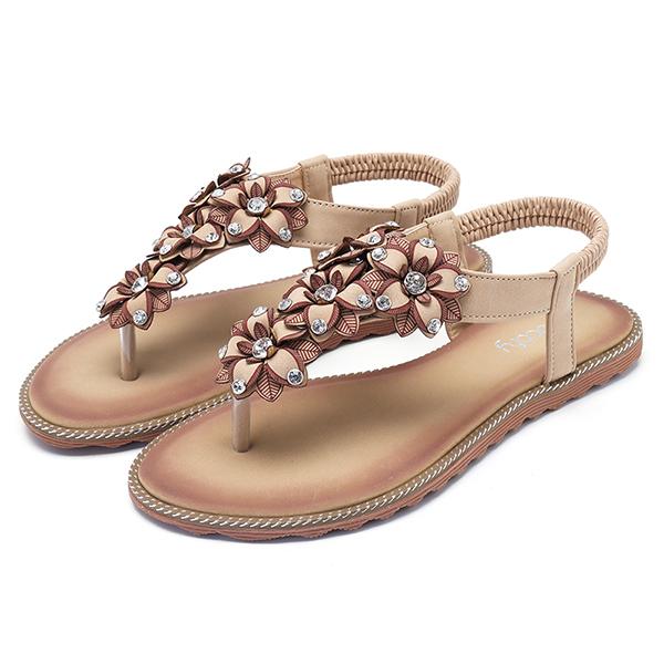 SOCOFY Women Bohemian Casual Beach Soft Flat Sandals