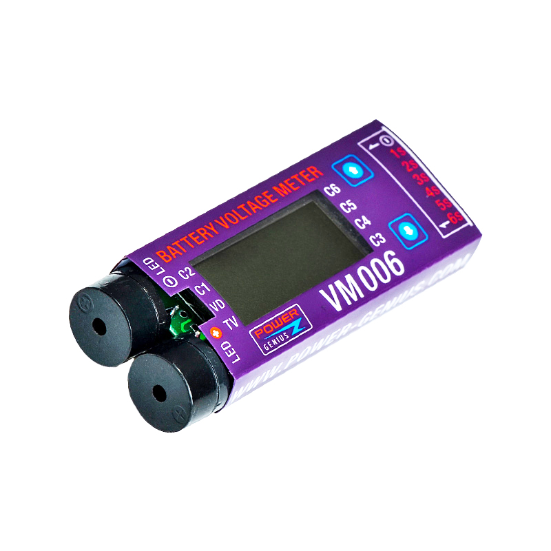 Power Genius PG 1-6S Battery Voltage Meter Calibration LCD Display with Low Voltage Alarm
